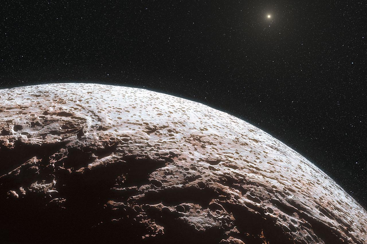 Художествено изображение на повърхността на Макемаке.© ESO/L. Calçada/Nick Risinger