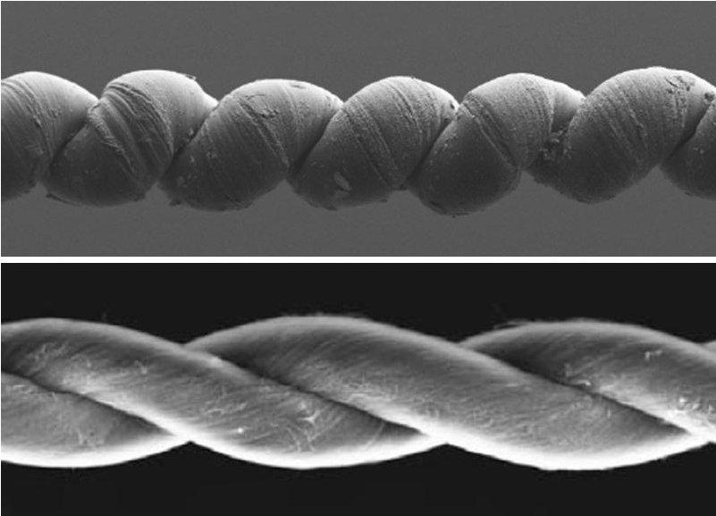 Тези въжета от преплетени въглеродни нановлакна и восък могат да се разтягат и свиват като мускул. Снимка: Science/AAAS