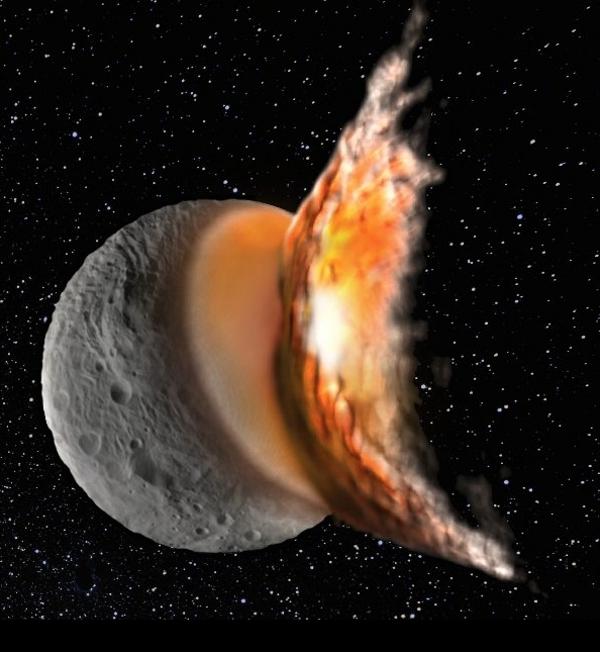 Сблъсъците би трябвало да извадят оливин на повърхността на Веста, но нищо подобно не се наблюдава.© Martin Jutzi / NASA, Dawn