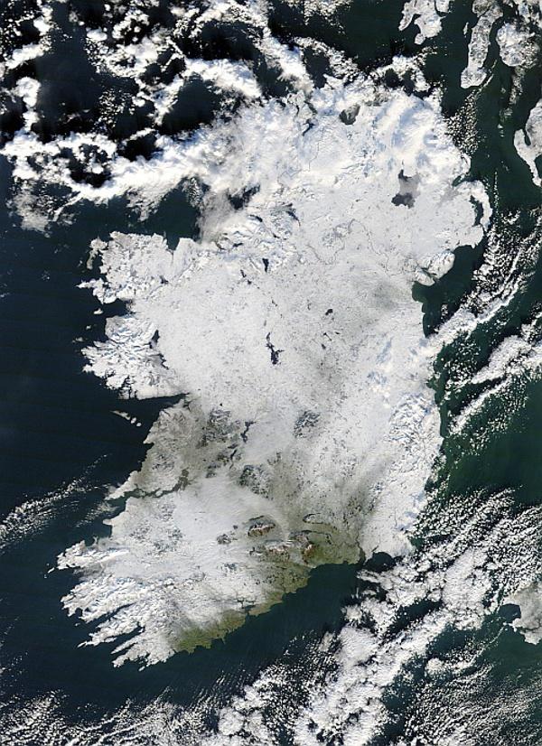 Силните снеговалежи в Ирландия са редки. Една от аномалиите била регистрирана през декември 2010 г.© NASA Goddard / MODIS Rapid Response Team, Jeff Schmaltz