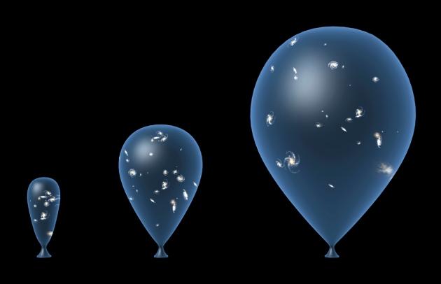 Разбягването на галактиките често се илюстрира като точки, нанесени върху повърхността на балон.© SPL