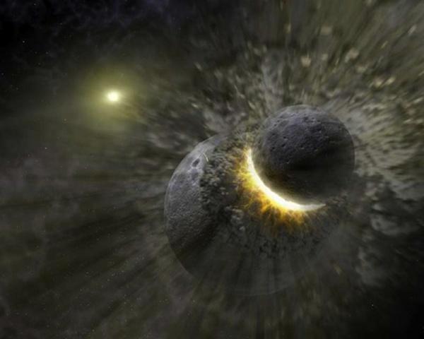 Колосален по мащаби сблъсък не само може да е породил Харон, но и да е дестабилизирал орбитите на малките Плутонови спътници от първото поколение.© M. Showalter, SETI Institute