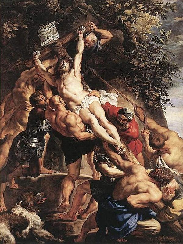 """Рубенс. """"Издигането на кръста"""", централен панел на триптиха, 1610 г."""