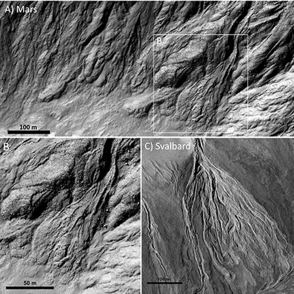 Горе: следи от отломъчни потоци на Марс. Долу: На Шпицберген. Лесно се вижда, че независимо от огромната разлика в началните условия (включително гравитацията) следите от такива явления са доста сходни.© NASA,JPL,UofA for HiRISE