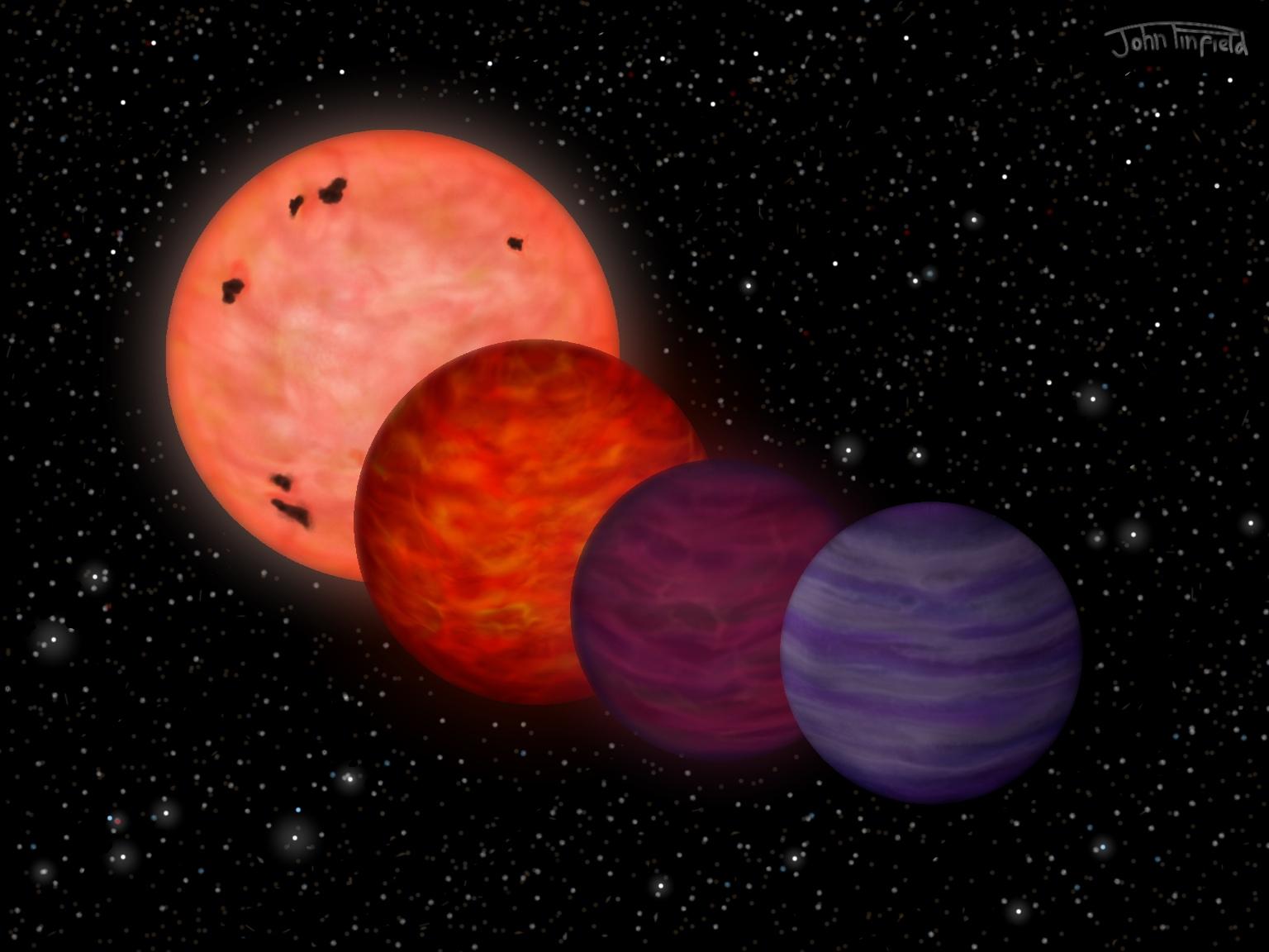 Еволюцията на J0304-2705 от звезда към планета. © John Pinfield