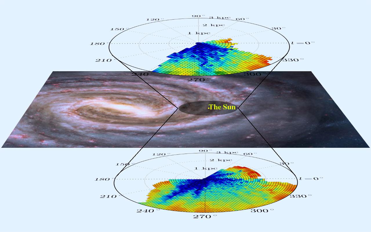 Карта на разпределението на междузвездната материя в Млечния път. © Janez Kos/Nick Risinger/RAVE team