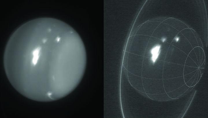 Изображения на Уран в инфрачервения диапазон. Бялото петно е най-голямата буря за цялата история на наблюдения на планетата.© Imke de Pater (UC Berkeley) & Keck Observatory