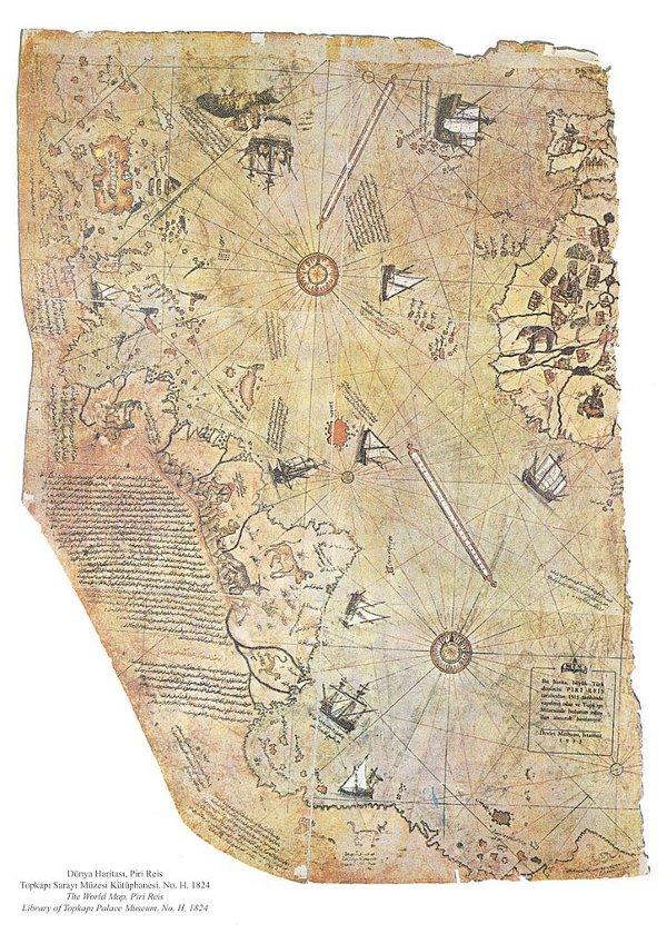 Оцелелелият фрагмент от картата на Пири Реис  Wikimedia Commons,