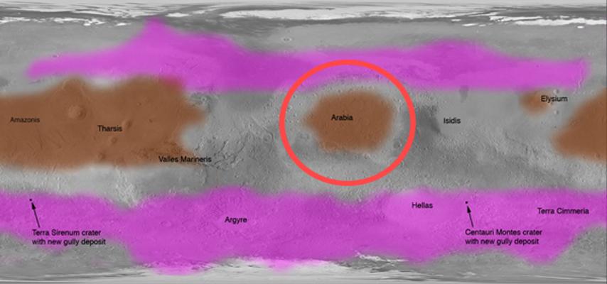 Регионът Арабия Тера на картата на Марс.