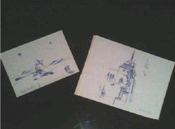 Двете рисунки, намерени между страниците на една книга, собственост на Гийом, които събудиха любопитството и желанието да се намери обяснение на загадката.