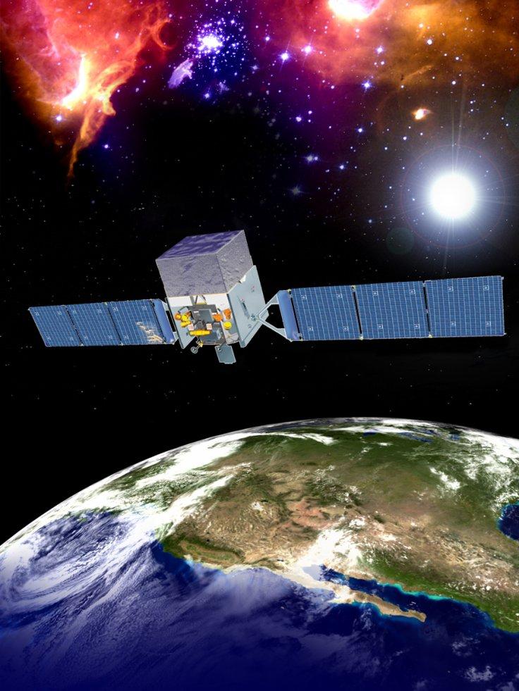 Художествено пресъздаване на космическия телескоп за гама-лъчи Ферми, НАСА.