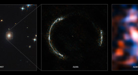Пръстенът на Айнщайн SDP.81 и галактиката леща. © ALMA (NRAO/ESO/NAOJ)/Y. Tamura (The University of Tokyo)/Mark Swinbank (Durham University)