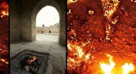 Вляво: зороастрийски храм недалеч от Баку, Азербайджан. Снимка: Nick Taylor/Flickr.На заден план: Вратата на Ада, недалеч от Дарваз, Туркменистан. Снимка: Wikimedia Commons