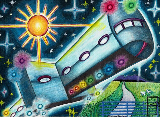 "Така местен художник очевидец изобразил ""вагона"", летящ над града."