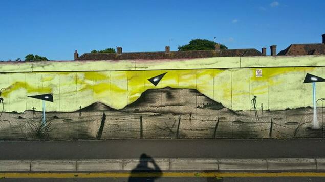 Графити за 50-годишнината от нашествието на НЛО.