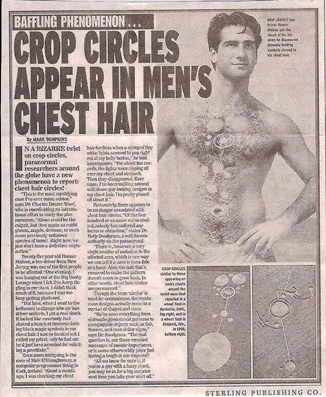 Една от шегите в пресата разказва, че пиктограма възникнала на гърдите на мъж.