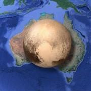 Плутон, сравнен с Австралия. © Reddit