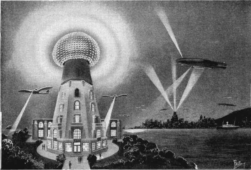 Изображение как може да изглежда безжичната преносна система на Тесла, която в бъдеще да захранва самолети и да осветява градове (1925)