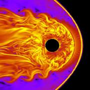 Модел показва обтичането на Земята от слънчевия вятър. © S. Kavosi/Raeder/UNH
