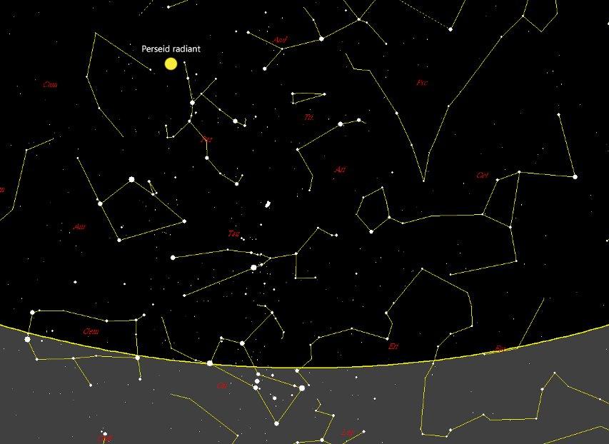 Радиантът на метеорния поток Персеиди.