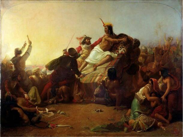 """Картината на Джон Миле """"Писаро по време на залавянето на Атауалпа"""""""