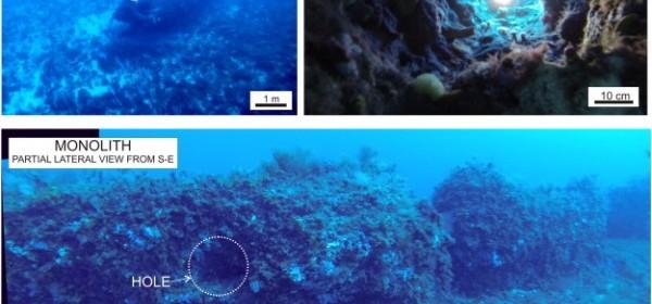 Снимките са направени от гмуркачите, а на тях се виждат откритият монолит и някои детайли по него.  © Lodolo et al/Journal of Archaeological Science: Reports
