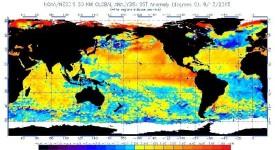 Карта на температурните аномалии (градуси по Целзий), 13 август 2015 г. © NOAA