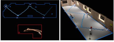 Синьото пространство отляво е виртуалното, а червеното е реалното. Дясното изображение показва как е изглеждал пътя във виртуалната реалност. Razzaque et al / EUROGRAPHICS 2001