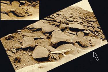 """Сложна симетрична форма и други особености на обекта """"странен камък"""" (стрелката) го открояват на фона на каменистата повърхност на планетата в точката на кацане на """"Венера-9"""". Размерите на обекта са около половин метър."""