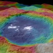 Кратерът Окатор със загадъчните бели петна в 3D. © NASA/JPL-Caltech/UCLA/MPS/DLR/IDA