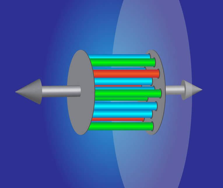 Художествено изображение на сблъсък между протон и оловно ядро. © APS/Alan Stonebraker