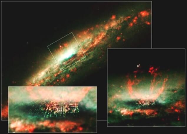 Градът в центъра на галактиката NGC3079.