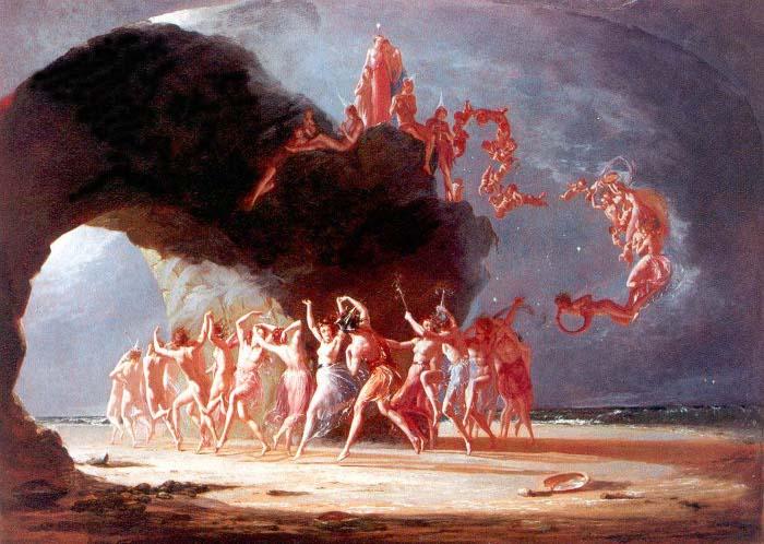 Снимки на голи и полуголи феи, танцуващи в пръстени, са били популярни във Викторианската епоха. Картина на Ричард Дад, 1842 г.