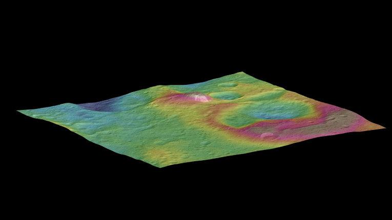 Необичайната планина пирамида на Церера. © NASA/JPL-Caltech/UCLA/MPS/DLR/IDA
