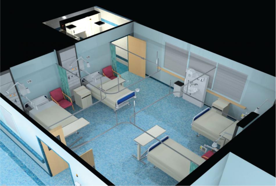 Типична стая с четири легла в британска болница. Заразите се пренасят по-лесно в такива стаи, отколкото в единчни. University of Leeds