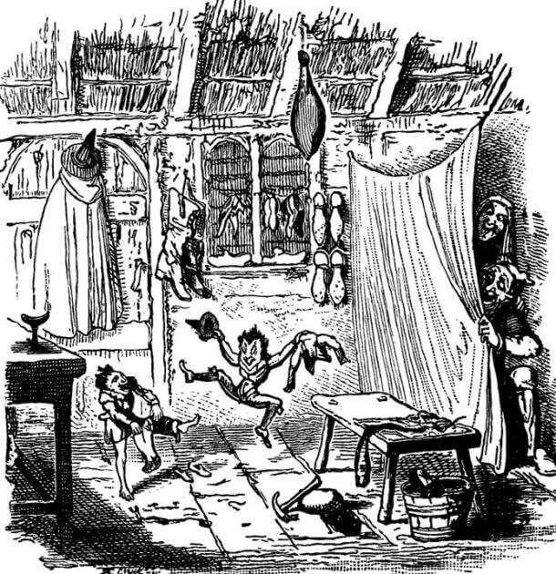 """""""Елфите и обущарят"""" из """"Книга с басни и народни приказки"""" на Хорас Е. Скъдър. Илюстрация от Джордж Круикшанк. Wikipedia"""