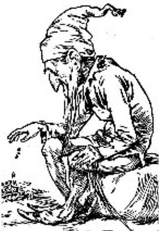 Леприкон със своето злато, гравюра от 1900 г. Wikimedia Commons