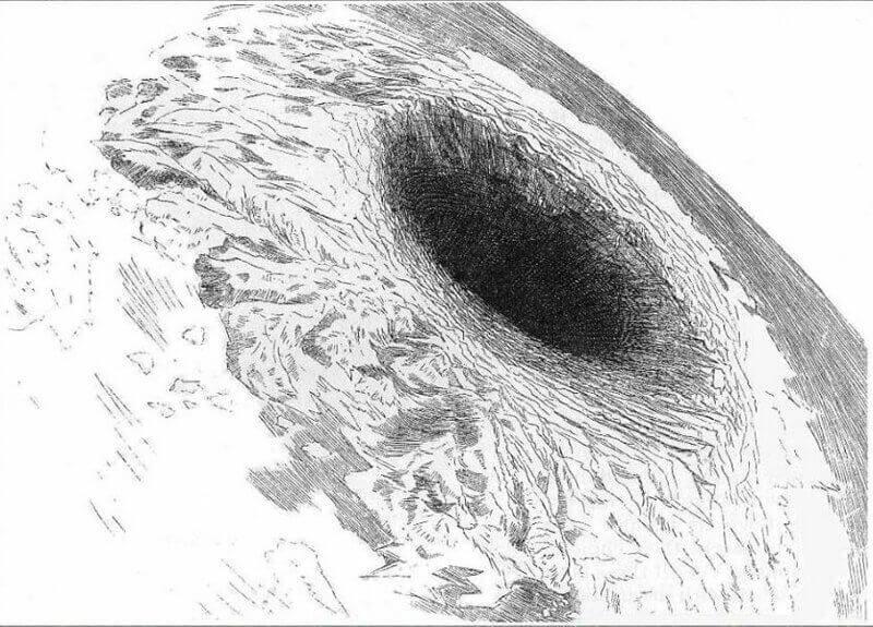 Входът към подземния свят, от гледна точка на Симс, ако се наблюдава с телескоп от Луната. Илюстрация в сп. Harper's New Monthly Magazine, октомври 1882 г.