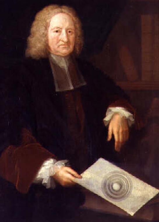 Халей с рисунката, илюстрираща теорията му за кухата Земя (1736 г.)