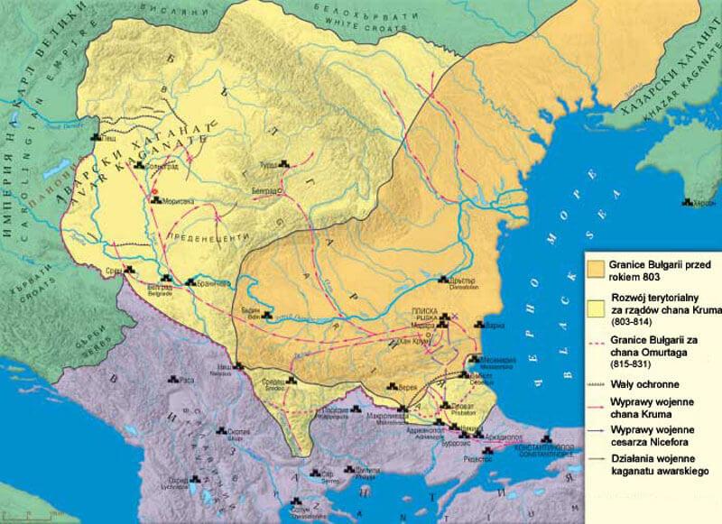 Граници на България при Крум — в оранжево до 803 г. + жълто при Крумовото управление. Wikimedia Commons