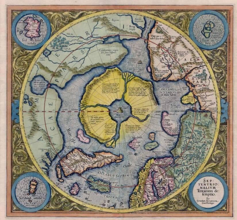 Арктичният континент или Хиперборея в Gerardus Mercator Atlas 1595 г.