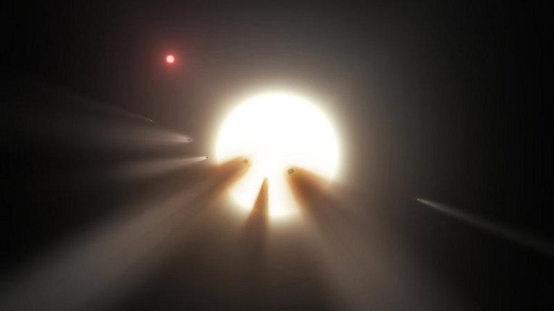 Художествено изображение на звездата Таби и кометите около нея.  © NASA/ JPL-Caltech
