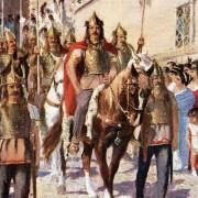Аларих води парад в Атина след завладяването на града през 395 година. (Илюстрация от 1920 г.)