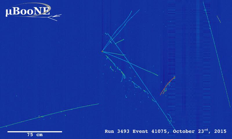Пример на неутринното събитие, фиксирано от детектора MicroBooNE.