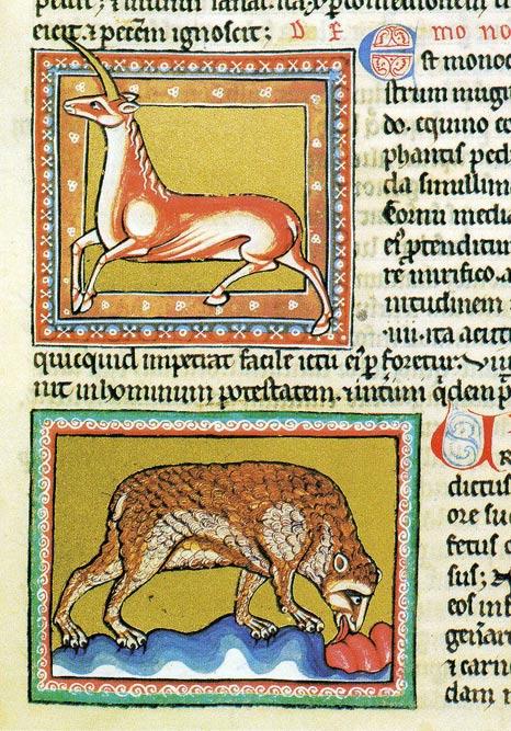 Еднорог и мечка от Ашмолската книга на зверове.