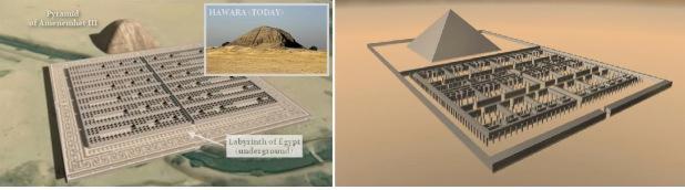 Възстановка на вида на лабиринта и пирамидата на Аменемхет III. Ancient Code