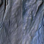 Снимки на образуването на дере в Земята на сирените на Марс. © NASA/ JPL-Caltech/Univ. of Arizona