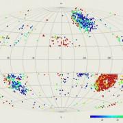 Възможните места на обитание от свръхцивилизации са отбелязани с червени точки. © V. G. Gurzadyan and R. Penrose