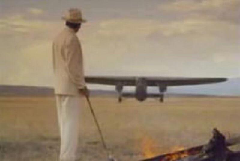 мъж, самолет, пустиня