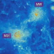 Моделиране на разпределението на междугалактичния газ в Млечния път (MW) и Андромеда (M31). © K. Riebe/CLUES project